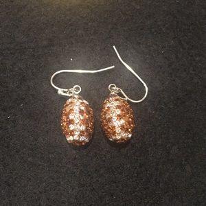 Sparkly Football Earrings